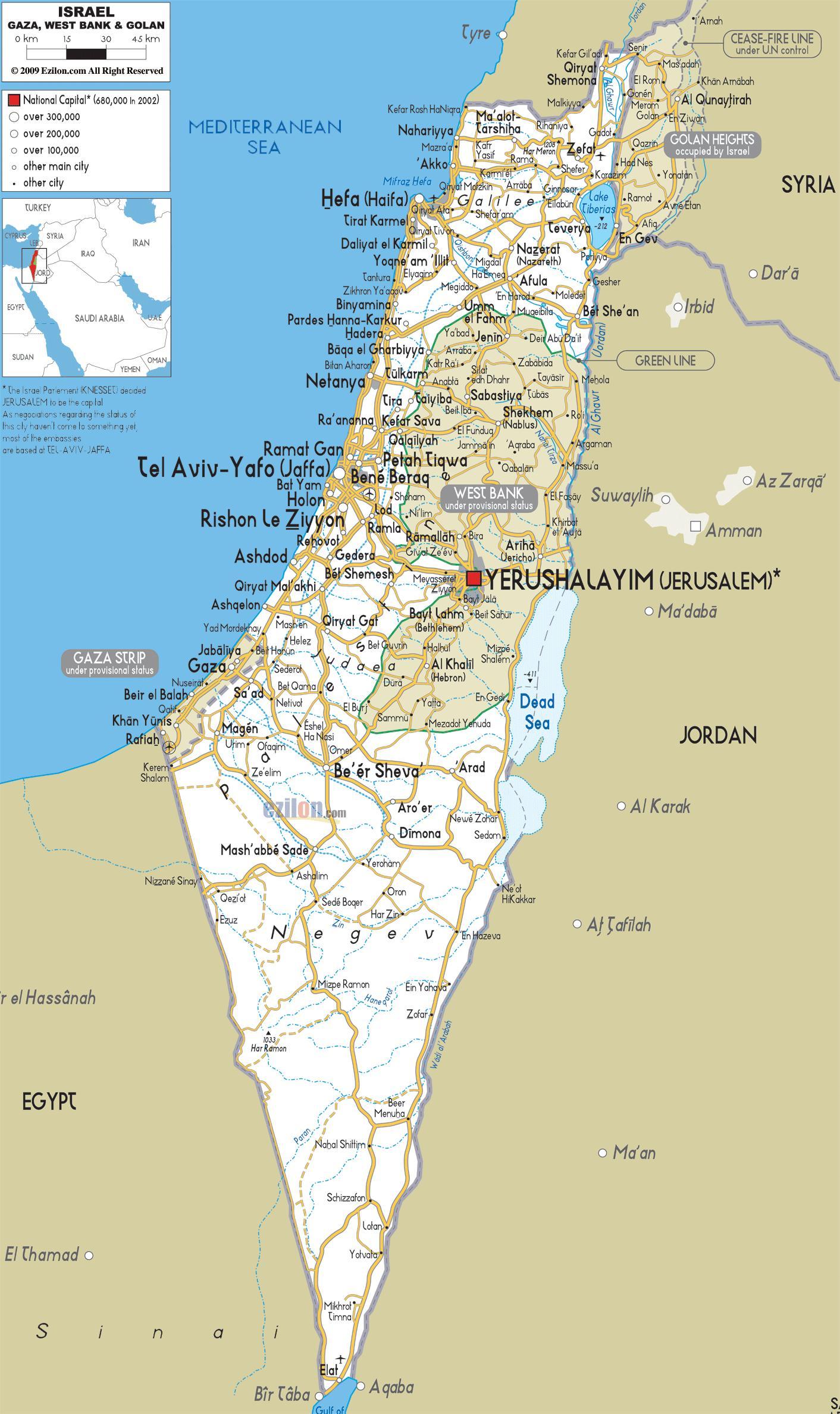 Izrael Mapa Puteva Mapu Za Izrael Putevi Zapadna Azija Aziji
